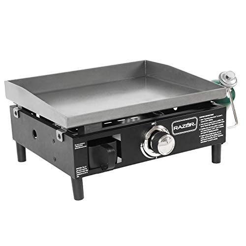Razor Griddle GGT2160M 19 Inch Outdoor 1 Burner Portable LP Propane Gas Grill Griddle w/ Push Ignition for BBQ Cooking and Frying, Black (Stainless Steel)