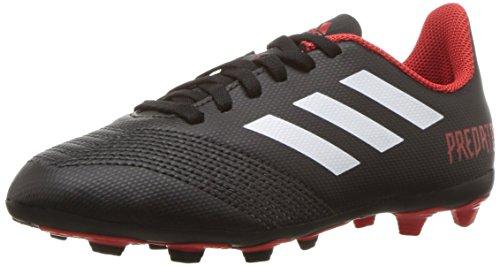 adidas Unisex-Kid's Predator 18.4 FxG Soccer Shoe, Black/White/red, 6 M US Big Kid