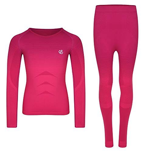 Dare 2b Unisex Kinder In The Zone Fast Wicking Quick Drying Performance Ski Snowboard Active Base Layer Set with Seamless Construction and Ergonomic Body Map Fit Baselayer, Cyber Pink Farbverlauf, M