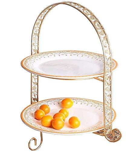 EALLIFE アフタヌーンティースタンド セット 豪華 女子会 金枠プレート付 皿 セット (2段皿スタンド)