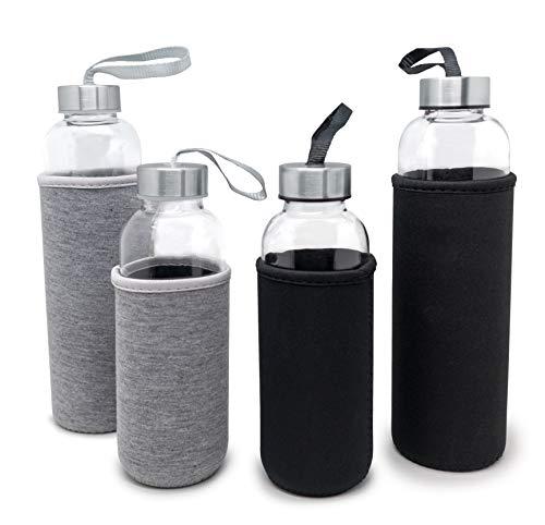 Nerthus FIH 647 Bottiglia di Vetro da 400 ml Nero, Borosilicato e neoprene