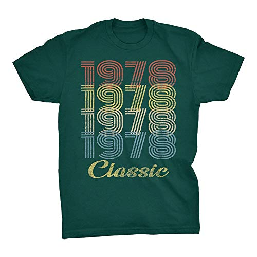 ingshihuainingxianchuangju 41 cumpleaños Regalo de la Camiseta - Cumpleaños Retro - Clásico 1978,3X-Large, Forestgreen