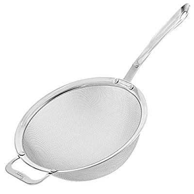 """9"""" Kitchen Fine Mesh Strainer with Sturdy Handle and Wider Hook - Perfect for Quinoa"""