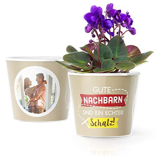 Nachbarn Geschenk Blumentopf (ø16cm) | Geschenke für Nachbar oder Nachbarin zum Einzug, Danke Sagen oder Weihnachten mit Bilderrahmen für 2 Fotos (10x15cm) | Gute Nachbarn sind EIN echter Schatz