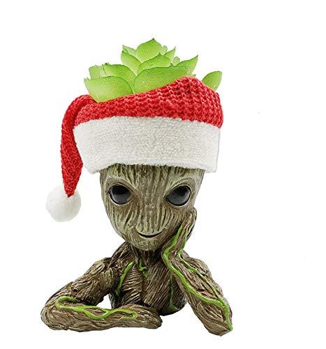 JIUCHEN Baby Groot bloempot met kerstmuts en vetplant Marvel Action Figuur uit Guardians of The Galaxy voor huis kantoor decoratie