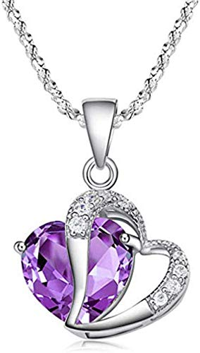 MNMXW Gluckliy Crystal Double Heart Pendant Necklace You Are always in My Heart Double Heart Hollow-out Necklace for Women (Rose Gold)