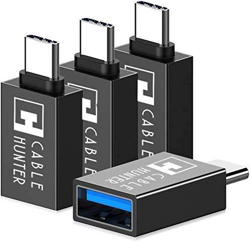 Cable Hunter [ PACK OF 2] Thunderbolt 3 to USB 3.0 OTG Adaptor – [Black]