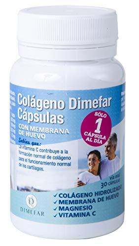 DIMEFAR - Colágeno Hidrolizado en Cápsulas con Membrana de Huevo - Refuerzo Articulaciones + Tendones + Ligamentos - Membrana de Huevo + Colágeno + Vitamina C + Magnesio, 30 Cápsulas