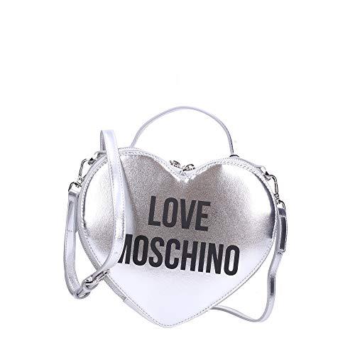 Moschino Borsa donna Love cuore a mano/tracolla ecopelle nappa silver