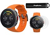 Polar Vantage V Pro (Orange) Power Bundle with PlayBetter Portable Charger & HD Screen Protectors (4-Pack)   GPS & Barometer   Heart Rate, Multisport Watch