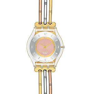 Swatch TRI-GOLD S SFK240B Reloj de Pulsera para mujeres Fabricado en Suiza