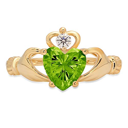 Clara Pucci 1.65 Heart Cut Irish Celtic Claddagh Solitaire Accent Stunning Genuine Flawless Natural Green Peridot Gem Designer Modern Ring Solid 18K Yellow Gold Size 11
