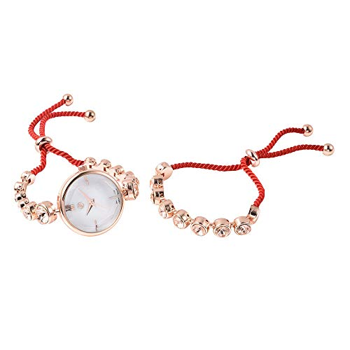 Set of 2 GENOA Japanese Movement Champagne Swarovski Crystal Studded Water Resistant Bracelet Watch and Adjustable Bolo Bracelet (Size 6-9.5) in Rose Gold Tone