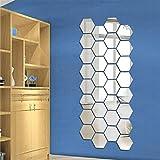 24 Pegatinas Vinilo Espejo Hexagonal Desmontable Adhesivo Adorno de Pared...