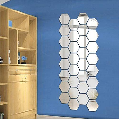 24 Pegatinas Vinilo Espejo Hexagonal Desmontable Adhesivo Adorno de Pared Decorativos para habitación baño salón tamaño 120 x 110 x 63mm(Plateado)