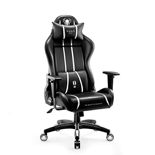Diablo X-One 2.0 Sedia Gaming Ufficio Scrivania Braccioli Regolabili Design Ergonomico Cuscino Collo Lombare (Nero-Bianco, L)
