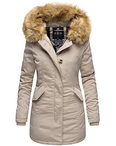 Marikoo Damen Winter Jacke Stepp Parka Mantel Winterjacke warm gefüttert Kunstpelz KARMAA XS-XXL (L, Beige)