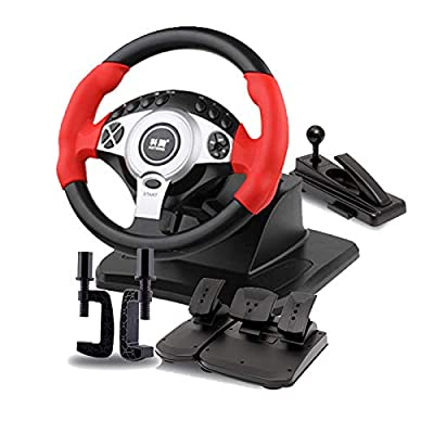 MXMYFZ Racing Simulator with Pedals & Handbrake, 900° Rotation Simulation Trucks Steering Wheel, Suitable for PC/Laptop,Red