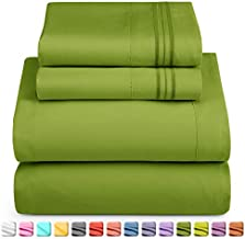 Nestl Deep Pocket King Sheets: 4 Piece King Size Bed Sheets with Fitted Sheet, Flat Sheet, Pillow Cases - Extra Soft Microfiber Bedsheet Set with Deep Pockets for King Sized Mattress - Calla Green