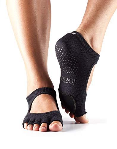 Toesox Half Toe Plie Calcetines de Yoga, Unisex Adulto, Negro, S