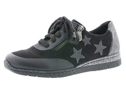 Rieker Damen Schnürhalbschuhe N5322, Frauen sportlicher Schnürer, strassenschuh Sneaker Lady,schwarz/schwarz,37 EU / 4 UK
