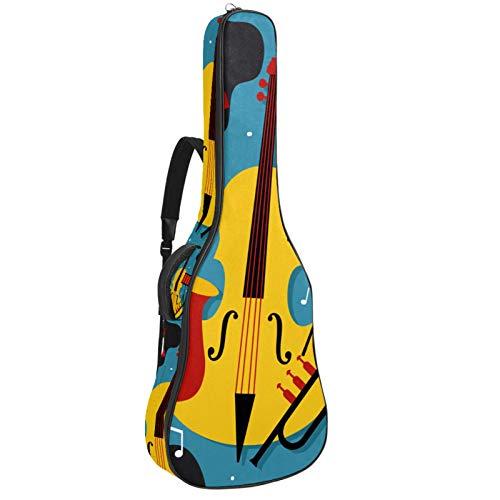 Funda para Guitarra Eléctrica Vector de cartel de jazz Bolsa Guitarra Acolchada 6mm Tela Oxford impermeable para Guitarra Acústica y Clásica 40 41 pollici