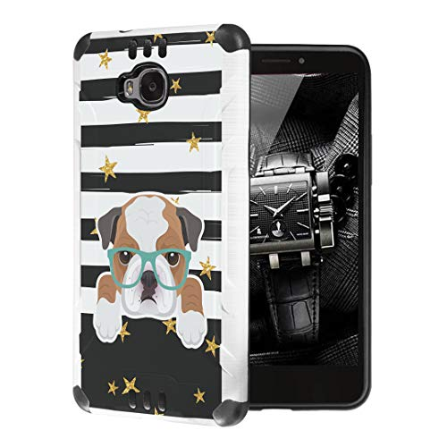 Moriko Case Compatible with Huawei Ascend XT [Cute Premium Dual Layer Hybrid Shockproof Slim Heavy Duty Men Women Girly Design White Black Case Phone Cover] for H1611 (Bulldog)