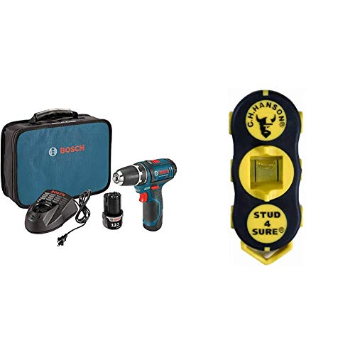 Bosch Power Tools Drill Kit - PS31-2A - 12V, 3/8 Inch, Two Speed Driver, Cordless Drill Set & Soft Carrying Bag, Blue & CH Hanson 03040 Magnetic Stud Finder