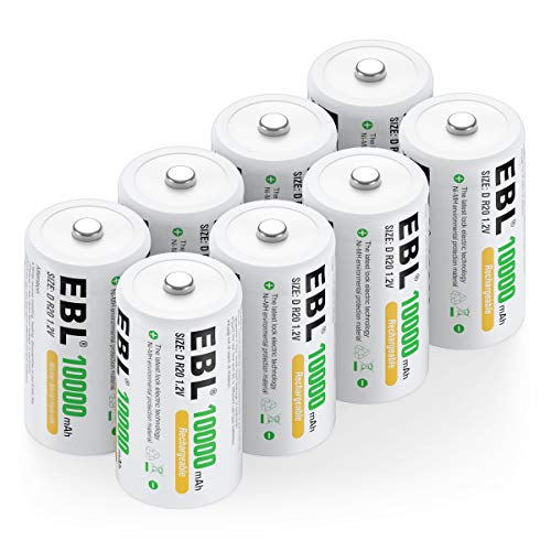 EBL Rechargeable D Batteries 10,000mAh High Capacity Lasting Rechargable Batteries, 8 Counts