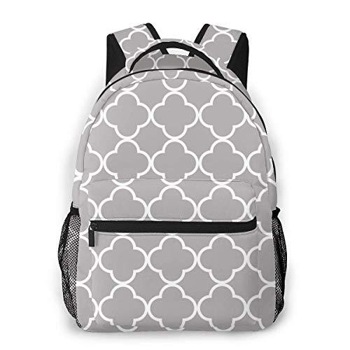 LNLN Rucksack Rucksack Quatrefoil Shape (Quatrefoil Tiles) Gray White Print Lightweight Backpacks Casual School Bags Daypacks