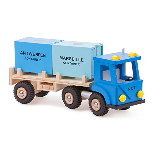 New Classic Toys Camion avec 2 Containers Jouet en Bois pour Enfant
