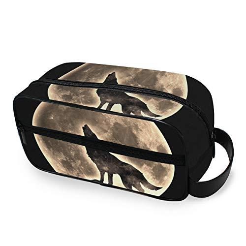 LZXO Bolsa de cosméticos colgante de lobo aullando de viaje, bolsa de aseo con cremallera, bolsa de...