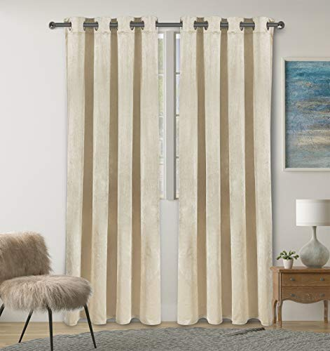 Ivory White Velvet Curtains, Blackout Curtains 84 Inches Long for Bedroom Living Room Dining Room Closet, Grommet Modern Room Darkening Window Treatments 2 Panel Sets, Luxury Thermal Insulated Drapes