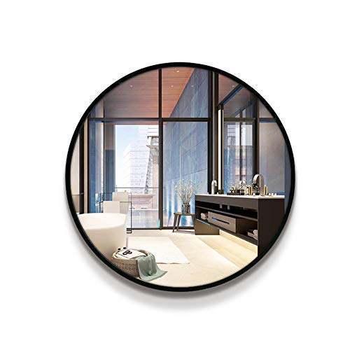 MFWallMirror Badkamerspiegel, badkamerspiegel, nieuw Chinees Scandinavisch ronde wandhouder, zwarte rand, aan de muur gemonteerd, zinken make-up spiegel