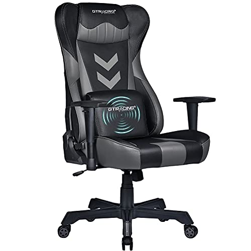 GTRACING Gaming Chair,Bigger,Taller and Wider Office Chair,Ergonomic Racing Desk Chair with High Back,Swivel Adjustable Massage Computer Chair with Headrest and Lumbar Pillow(Grey&Black)