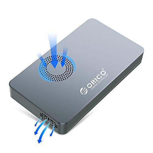 ORICO Carcasa NVME M.2 SSD con Ventilador USB C Gen2 Type C 10Gbps PCI--e NVME M-Key Cajas para Discos Duros Hasta 2 TB compatible con SSD de Tamaño 2230/2242/2260/2280-M2PY