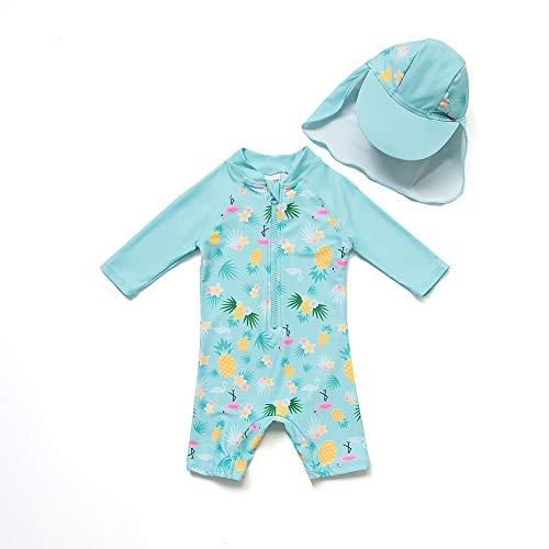 Baby Mädchen Ein stück 3/4 der ärmellänge UV-Schutz 50+ Badeanzug MIT Einem Reißverschluss(Grüne-Ananas,3-6M)