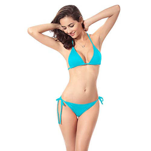 PinkLu Damen Bademode Einfarbig Bikini-Set Hängender Neck Top Badeanzug Plus Riemen Dreieck Badebekleidung Zweiteiliger einfacher Bügel Badeanzug