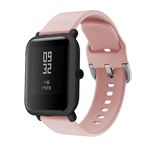 DIPOLA Correas de Reloj de Repuesto de Silicona para Xiaomi Huami Amazfit Bip Youth Watch—Rosado