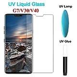 PANGLDT [3 tabletas] Lote UV de Vidrio Templado líquido de Pegamento Completo para LG V30 V40 G7 Protector de Pantalla 3D película Curvada para LG V30 V40 película Protectora For LG V30