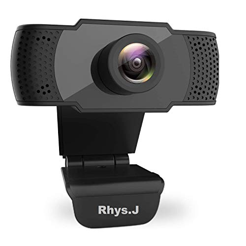 Rhys.J Webcam mit Mikrofon, 1080P HD Webcam Computer Kamera USB Plug and Play Webkamera für Videoanrufe, Studium, Online-Klasse, Konferenzen, Aufnahmen, Gaming (Black)