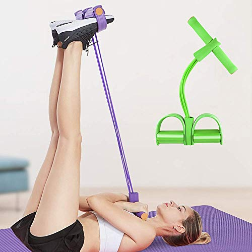 Soudittur, pedale multifunzione, corda elastica per allenamento, Leg-Exerciser, Sit-Up, bodybuilding espansore per casa, fitness, yoga, pilates, allenamento, verde, 40.5*28cm