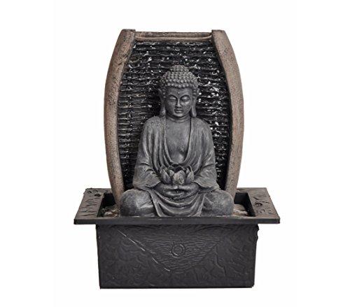 Dehner Fontaine d'intérieur Bouddha Zen avec éclairage LED, env. 26 x 21 x 18 cm, polyrésine, Gris