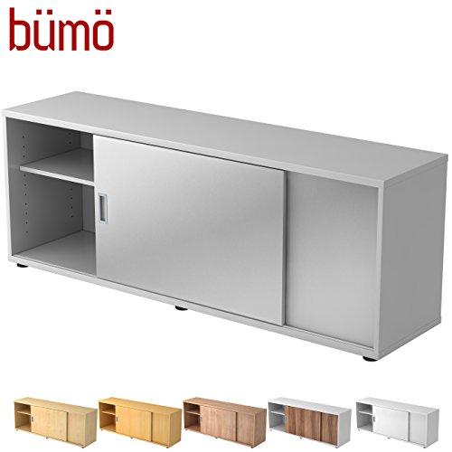 Hamerbacher Sideboard met schuifdeur | Office schuifdeurkast | voor ordner & opbergruimte voor materiaal kantoormeubilair | in 12 kleuren grijs/zilver