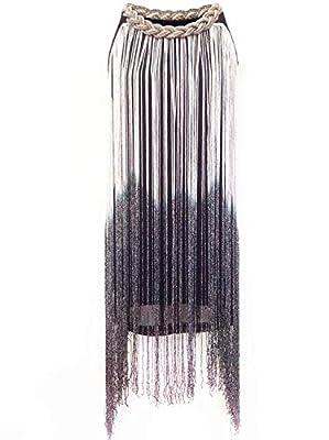 Vijiv Women's 1920s Gatsby Long Swinging Fringe Tassel Flapper Cocktail Dress