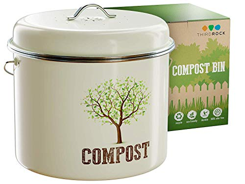Check Out This Third Rock Compost Bin for Kitchen Counter - 1 GALLON 3.8 LITER | Premium Dual Layer ...