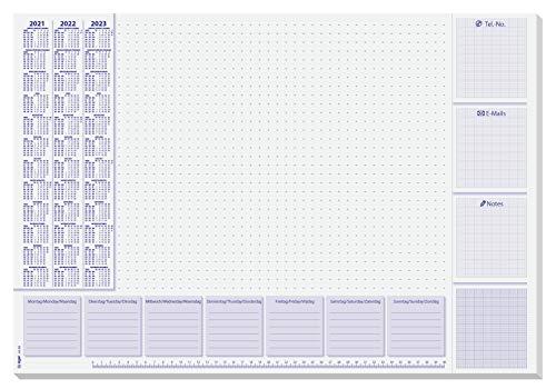 SIGEL HO355 Papier-Schreibunterlage, ca. DIN A2, mit 3-Jahres-Kalender und Wochenplan 2021-2023, 30 Blatt, in nachhaltiger Verpackung, Einheitsgröße, SY499