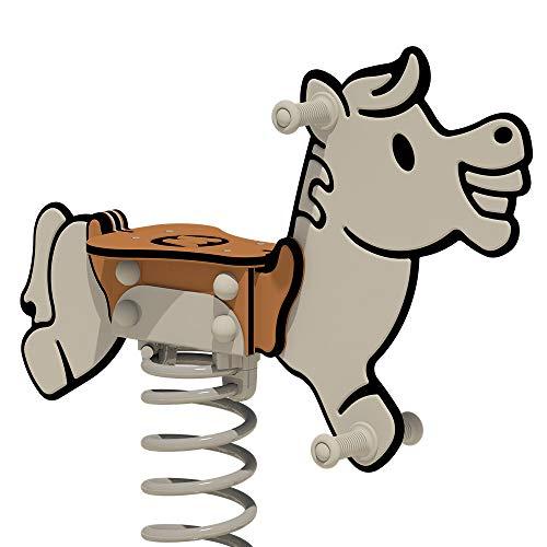 WICKEY PRO Federwippe Pferd Jolley grau/braun für öffentliche Spielplätze und Schulen - inklusive Bodenplatte