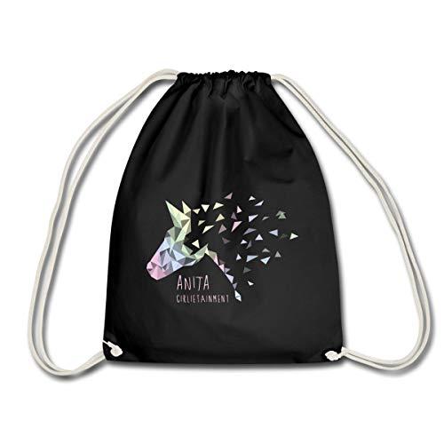 Spreadshirt Anita Girlietainment Pferd Low Poly Design Turnbeutel, Schwarz