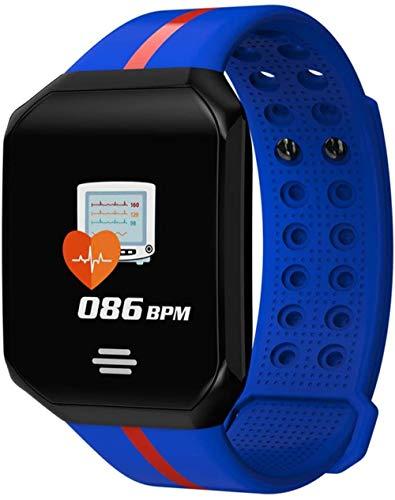Reloj inteligente de fitness para hombre y mujer, pantalla grande, monitor de ritmo cardíaco, presión arterial, podómetro para correr y deporte, reloj inteligente azul